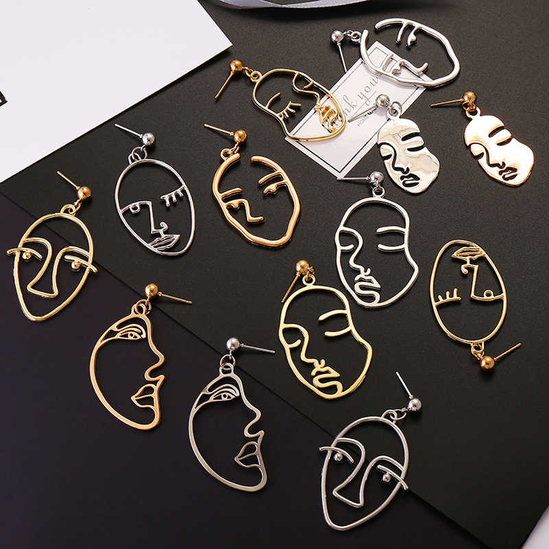 Fashion Vintage Trendy Gold Silver Face Drop Earrings For Women Jewelry 2019 Hollow Abstract Human Art Facial Dangle Earrings
