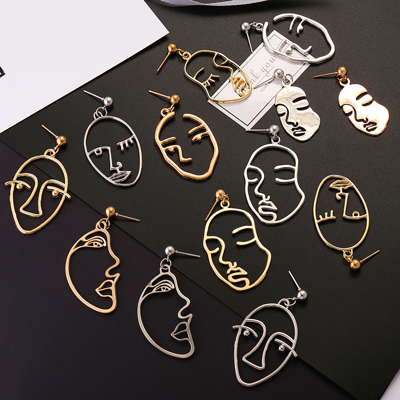 Fashion Vintage Trendy Gold Silver Face Drop Earrings For Women Jewelry 2019 Hollow Abstract Human Art Facial Dangle Earrings gold earrings for women