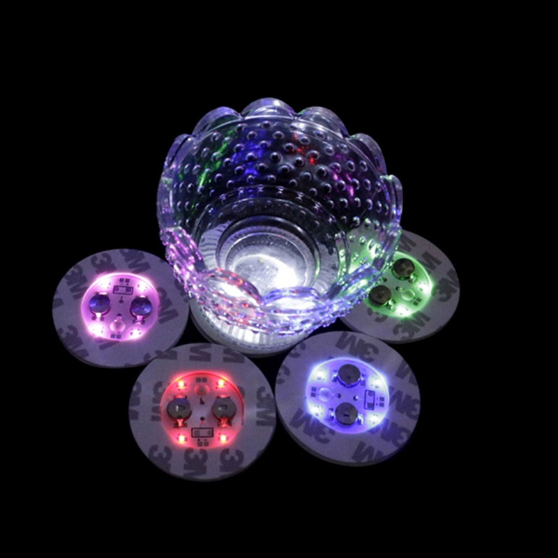 4 LED Decoration Light Bottle Stickers Glorifier Mini LED Coaster Cup Mat for Party Bar Club Vase wedding Wine Glass S2017542 ...