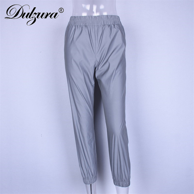 Dulzura flash reflective jogger pants 2018 autumn winter women casual gray solid streetwear trousers 5