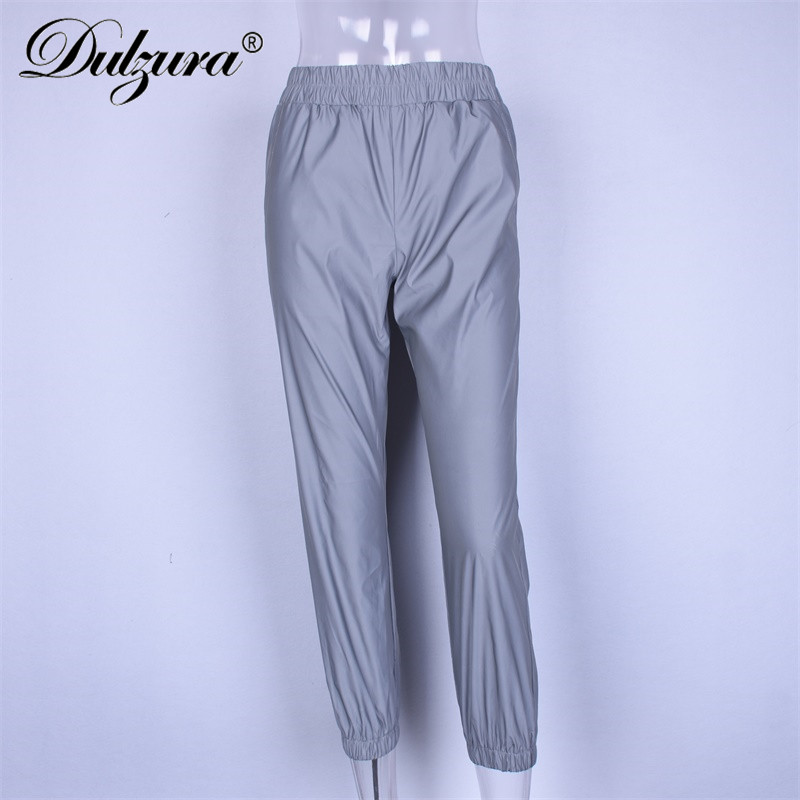 Dulzura flash reflective jogger pants 2019 autumn winter women casual gray solid streetwear trousers fashion clothes