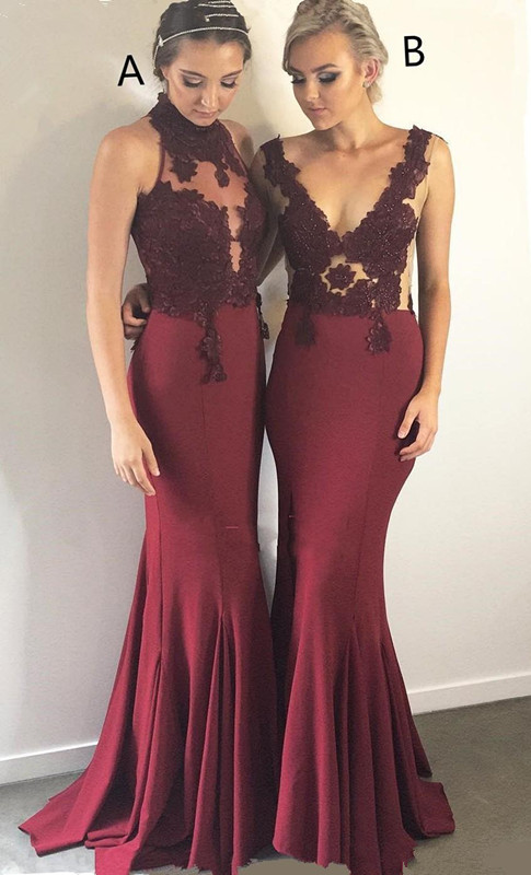 Burgundy 2019   Bridesmaid     Dresses   For Women Mermaid Halter Lace Beaded Long Cheap Under 50 Wedding Party   Dresses