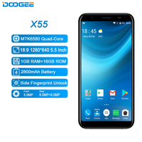 DOOGEE X55 Mobile Phone MTK6580 Quad Core 1GB+8GB Android 7.1 8MP Dual Rear Cameras Fingerprint ID 3G Phone 5.5 Inch Cell Phone