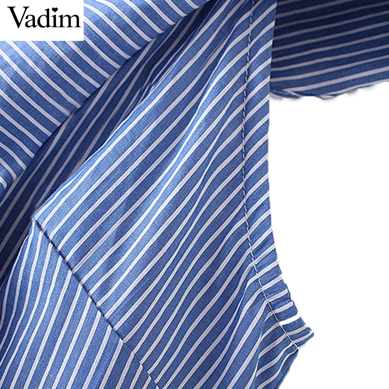 HTB115McQXXXXXaWXVXXq6xXFXXXg - Women sweet ruffles striped blue v-neck short sleeve