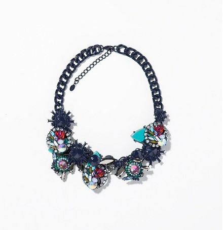 2014 design fashion gunmetal colourful crystal rhinestone statement necklace for women