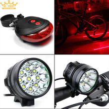 15000Lm 9 x XM-L T6 LED Bicycle Cycling Waterproof Light Lamp& Battery Pack+ Rear Light