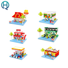 HSANHE City Series Mini Street Shop Convenient Store Diamond Building Blocks Bricks Educational Bricks Gift Toys for Children