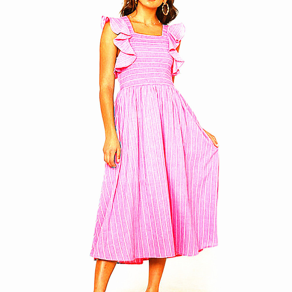 Summer Casual Short Sleeve Dress Striped Maxi Sexy Long Dresses For Skinny Girls And -9132