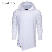 2017 Giraffita Fashion Hoodies Men Sudaderas Hombre Hip Hop Brand Solid Hooded Zipper Hoodie Cardigan Sweatshirt