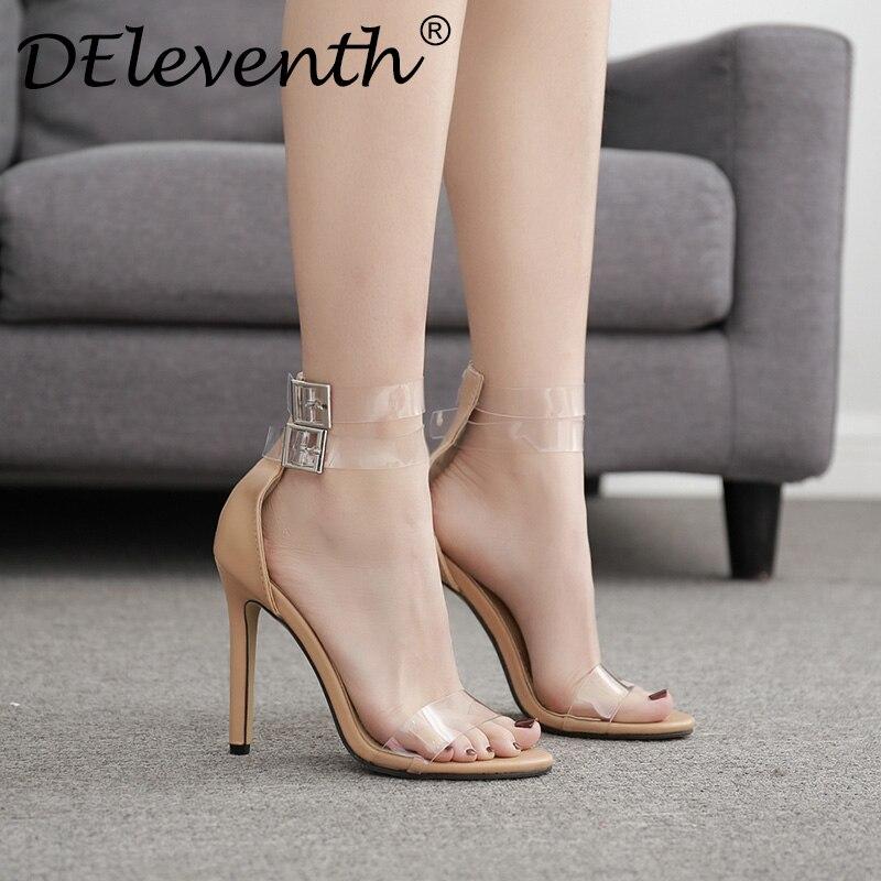 DEleventh ladies's footwear peep toe crystal skinny heels hhigh heel pumps footwear feminine social gathering girl footwear buckle strap sapato feminino Excessive Heels, Low-cost Excessive Heels, DEleventh ladies's footwear...
