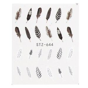 Image 5 - 1pcs Mooie Zwarte Witte Veer Nail Art Decal Stickers Fashion Tips Decoratie Watermerk Nail Art Decor Tool TRBLE892/ STZ