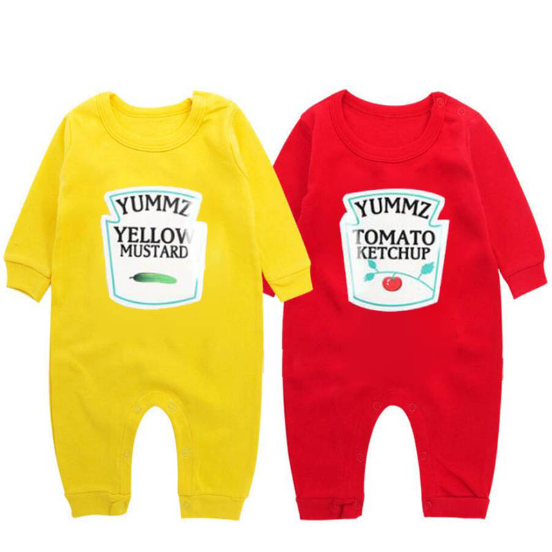 YSCULBUTOL Premium Ketchup And Mustard Baby Bodysuit Twins Gift Funny Baby Outfits Twins Christmas Gift
