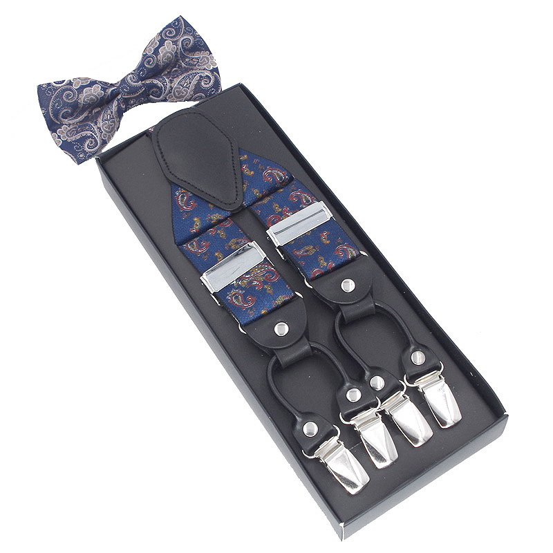 New Suspenders Set Leather  6 Clips Braces With Bow Tie Vintage Casual Suspensorio Trousers Strap Father/Husband's Gift