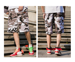 Men's Camouflage Cargo Shorts, Summer Street Fashion Short Pants for Adolescents and Young Boys, Contrast Color Camo Work Shorts