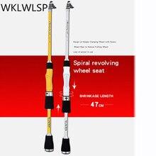 Fibra de carbono vara de pesca telescópica 1.8 m 2.1 2.4 portátil rotativa vara de pesca viagem rocha mar vara de pesca