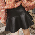 teenage girls black tutu faux leather skirt ball gown ruffles solid 12 13 14 15 16 years old clothing high quality autumn winter