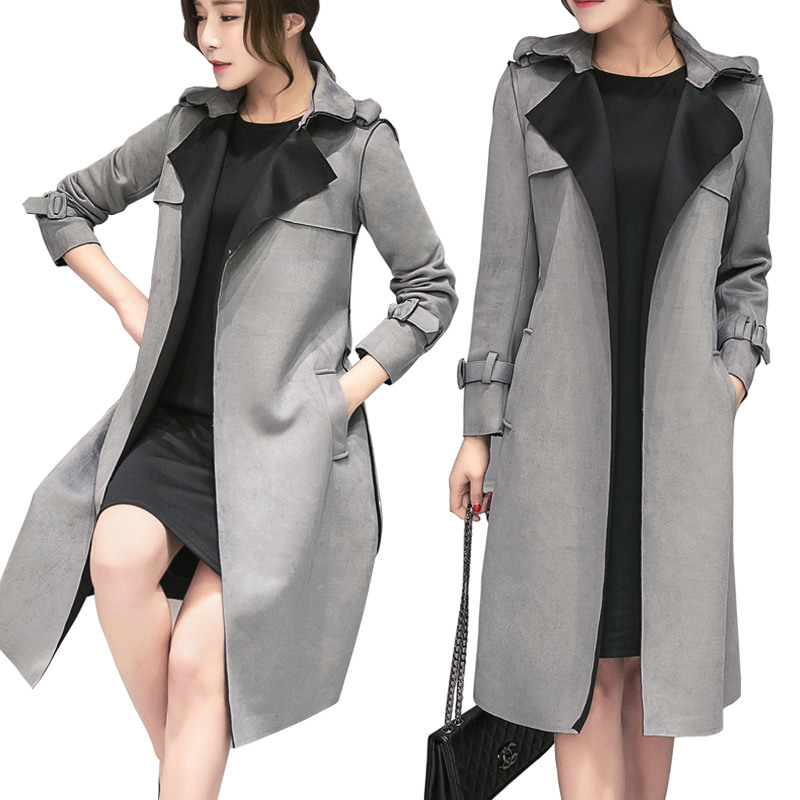 New Women Slim Suede Windbreaker Chic Spring Korean Solid Color Plus Size 3L Long Knee Length Femme Elegant   Trench   Coat MZ2886