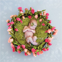 Newborn Photography Wreath Props (All Set) Newborn Baby Full Moon Hundred Days Photo Flower Baskets Feather Props Photo Studio new style baby photography studio props newborn one hundred days photo basket natural pampasgrass moon boat crescent