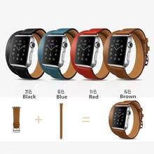 Extra de lujo banda de cuero genuino, a largo recorrido doble correa de cuero correa de pulsera para apple watch 38mm 42mm en stock