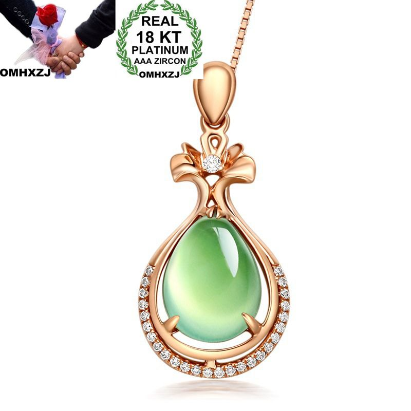 OMHXZJ Wholesale European Fashion Woman Girl Party Wedding Gift Water Drop Prehnite Zircon 18KT Rose Gold Pendant Necklace NA144 in Necklaces from Jewelry Accessories