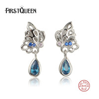 FirstQueen 925 Sterling Silver Animal Butterfly Stud Earrings Fine Jewelry DIY With Bule Crystal Fashion Earrings