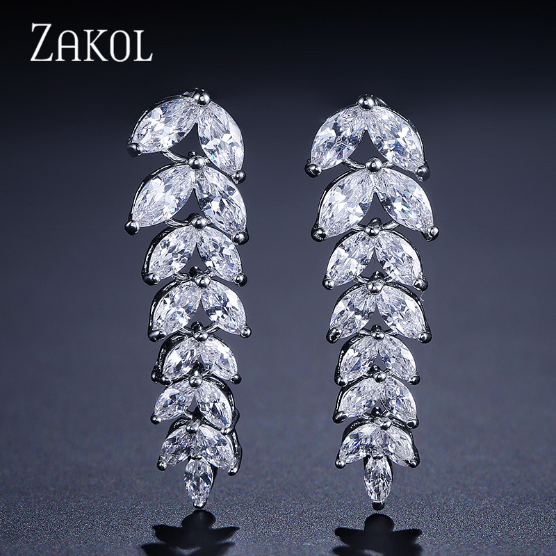 ZAKOL Fashion Marquise Cut Shape CZ Zircon Dangle Drop Earrings Sliver Color Crystal Leaf Jewelry For Women Party Gift FSEP040 pair of gorgeous chic style faux gem embellished women s leaf shape drop earrings