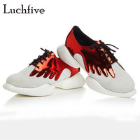 New arrival round toe women casual shoes breathable air mesh fashion lace up ladies shoes leisure outwear red pink gold silver
