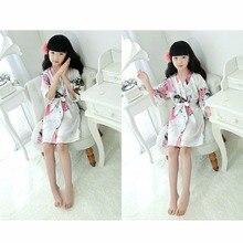 2e6c696c3e Puseky Kid Silk Floral Robe Kimono Robes Bridesmaid Flower Girl Dress  Children Bath Robe Sleepwear Baby