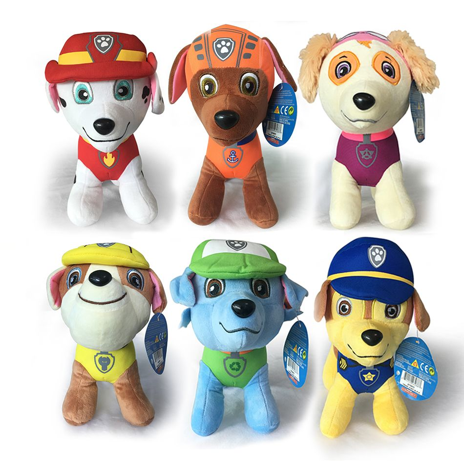 2017 Free Shipping Ryder 6Pcs/Set Dogs Cartoon Plush Marshall Rubble Chase Rocky Zuma Skye Plush Toys Anime Stuffed Dolls Soft