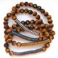 2017 1PC Tiger Eye Hematite Agate Tibetan 6 Syllable Mantra Beads Prayer Stone Energy Stretch Women's Bracelet Amulet
