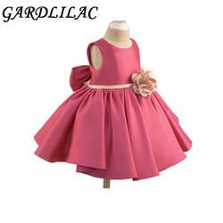 Gardlilac цветок мини-платье для девочки с большим бантом Красное платье с цветочным узором для девочек костюмы на Хэллоуин детская одежда