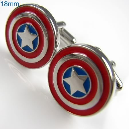 Promotion Captain America Super Hero Cufflinks copper factory supply cufflinks wholesale&retail free shipping