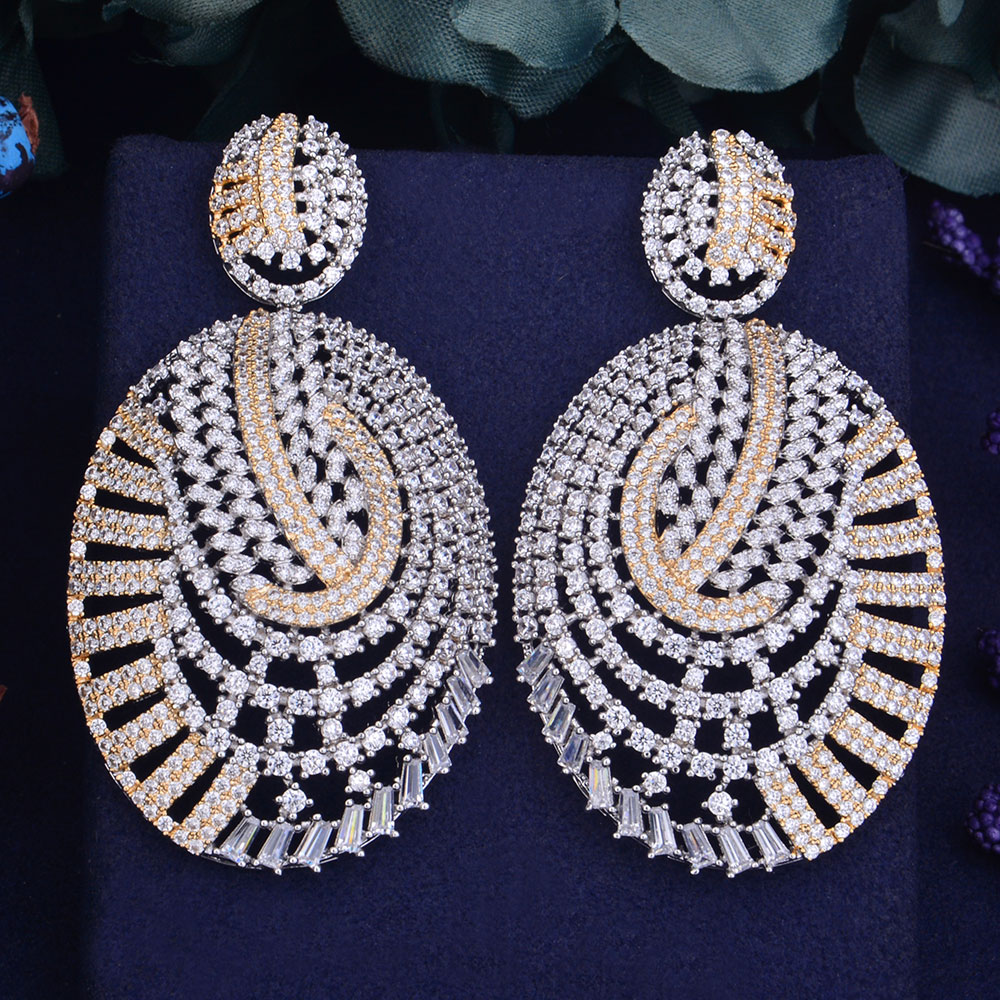 GODKI 67mm Luxury Trendy Oval Geometry Full Mirco Paved Cubic Zirconia Naija Wedding Women Earring Fashion Jewelry