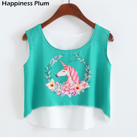2017 Summer Unicorn Crop Tops 3D Printed Tank Top New Fashion Sleeveless Sex For Women 3D