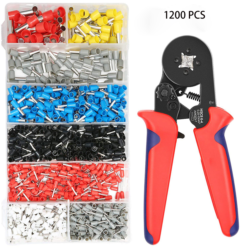0.25-10 Crimping Pliers Set AWG 23-10 Crimper Tool Kit with 1200Pcs Wire Ferrule Terminals kit Insulated for Auto and Electrical 1200pcs insulated terminal assortment kit electrical terminals