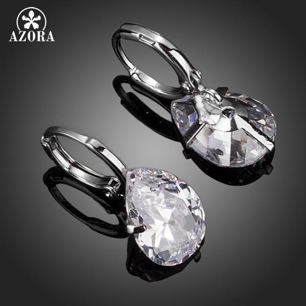 AZORA Merek Desain Pear Cut Batal Cubic Zirconia Water Drop Earrings - Perhiasan fashion - Foto 2