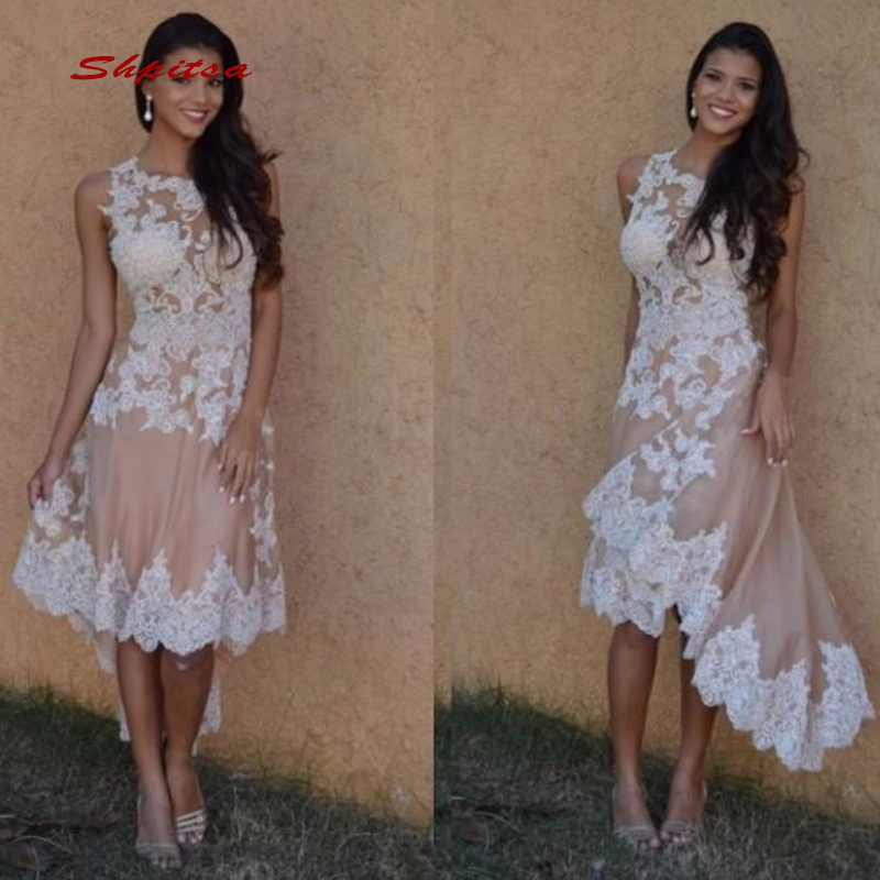Short Front Long Back Lace   Cocktail     Dresses   Party High Low Graduation Women Prom Plus Size Coctail Semi Formal   Dresses