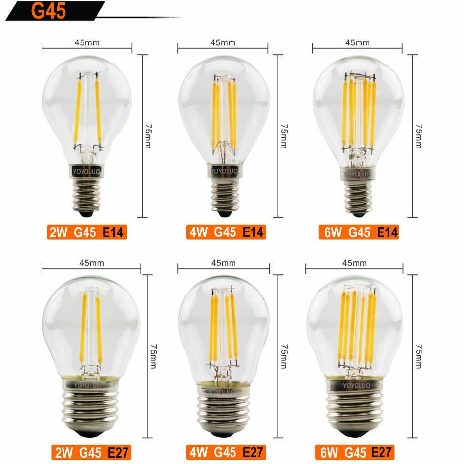 [YOYOLUO] nouvelle LED ampoule à Filament E14 C35 C35L G45 LED ampoule E27 Edison lumière 220 V 2 W 4 W 6 W Antique rétro Vintage ampoule en verre