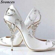 Svonces Luxury White Silk Women Pumps Chic Satin Las Stilettos Pointed Toe Jeweled Bridal Shoes Wedding