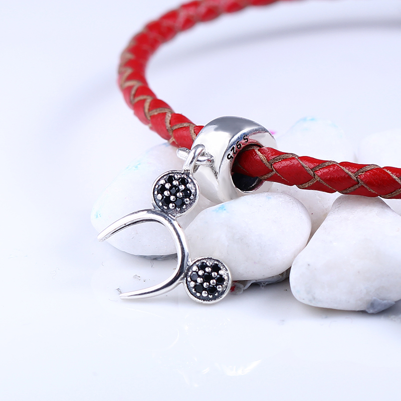 100% 925 Sterling Silver Fit Original Pandora Bracelet Mickey Headband Pendant Charms DIY Charms Beads for Jewelry Making Gift