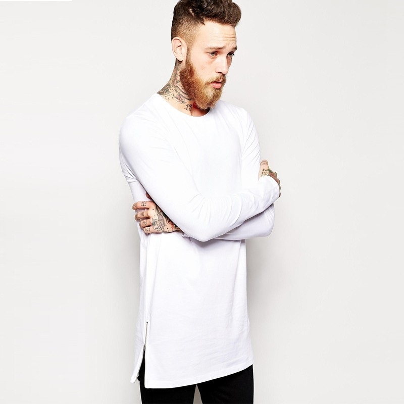 2018 New Men Hip hop   T     Shirts   Long Sleeve   T  -  shirt   With Side Zippers   T     shirt   Men Oversized Street-Wear Longline Top Tees