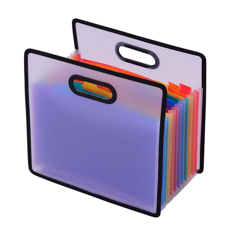 Accordion Expanding File Folder A4 Paper Filing Cabinet 12 Pockets Rainbow Coloured Portable Receipt Organizer With File Guide