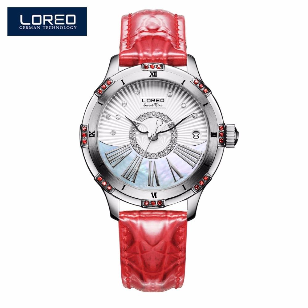 LOREO Leather Strap Watches Automatic Winding Mechanical Movement Wrist Watch For Women Business Waterproof Dress Watch AB2068