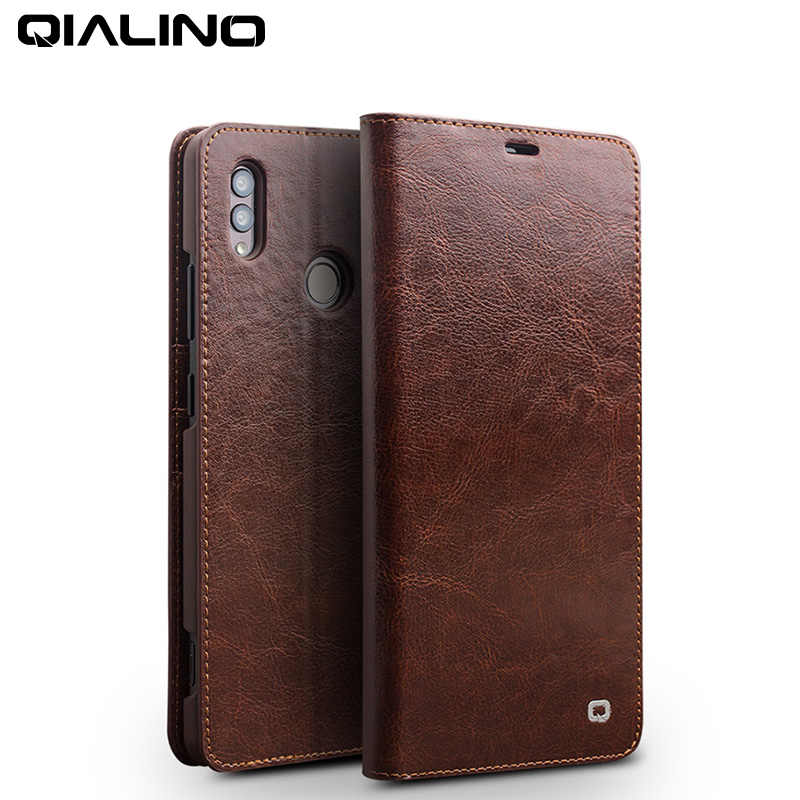 QIALINO Fashion Genuine Leather Flip Case for Huawei Honor Note 10 Luxury Handmade with Card Pocket Phone Cover for Honor Note10