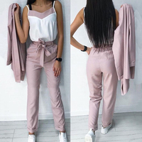 MVGIRLRU OL Style 3 Pieces Set Women Striped Pants Suit Long Blazer Jacket and Sleeveless Strap Tops and Long Trouser Sets