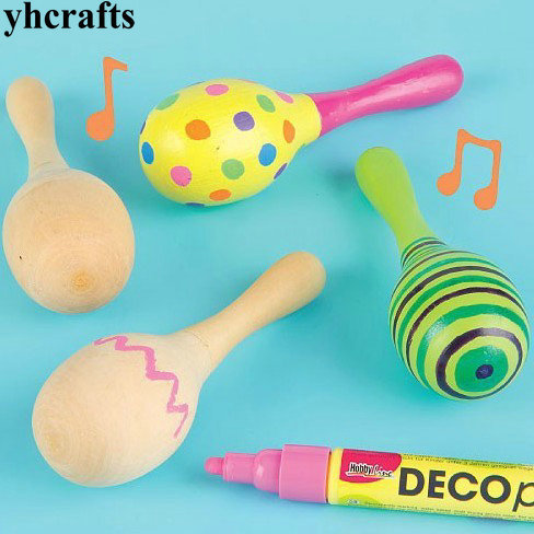 6PCS/LOT.Paint your own maracas New baby gifts Baby rattle Unfinished wood toys kids toy Early educational toys Kindergarten art