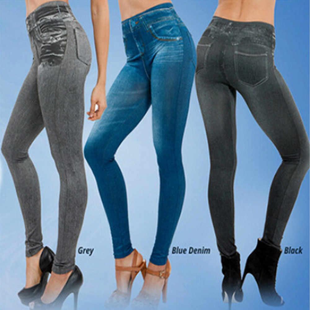 Dropship Leggings Jeans für Frauen Denim Hosen mit Tasche Dünne Jeggings Fitness Plus Größe Leggins S-XXL Schwarz/Grau/ blau
