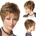 Fashion Sexy Synthetic Fluffy Slightly Curly Wavy Women Wigs Short Hair Wig Girl Gift Linen