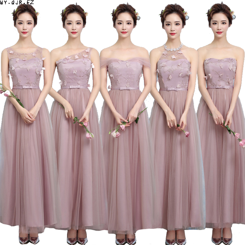ZX-A48Z#One shoulder   bridesmaid     dresses   new spring summer 2019 cameo brown   bridesmaid     dresses   long bride wedding party   dress