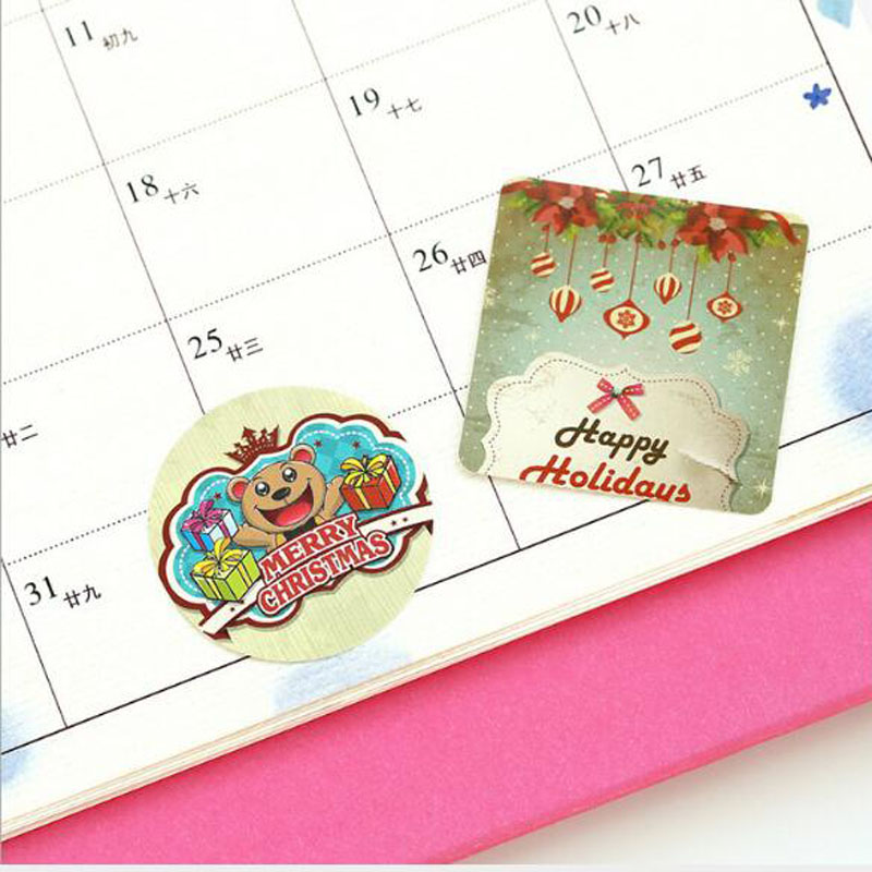Купить с кэшбэком 46pcs/box Creative Christmas Theme Paper Sticker Decoration DIY Diary Scrapbooking Planner Gift Packing Seal Kawaii Stationery